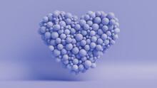 Balloon Love Heart. Blue Balloons Arranged In A Heart Shape. 3D Render
