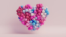 Multicolored Balloon Love Heart. Pink, White And Blue Balloons Arranged In A Heart Shape. 3D Render
