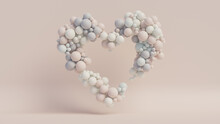 Pastel Coloured Balloon Love Heart. Pink, White And Blue Balloons Arranged In A Heart Shape. 3D Render