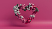 Multicolored Balloon Love Heart. Pink, Grey And Black Balloons Arranged In A Heart Shape. 3D Render