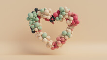 Multicolored Balloon Love Heart. Pink, White And Green Balloons Arranged In A Heart Shape. 3D Render