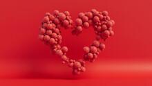 Balloon Love Heart. Red Balloons Arranged In A Heart Shape. 3D Render