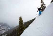 Telemark Skier Makes Turns On Kessler's Run, Aspen Highlands Ski Resort