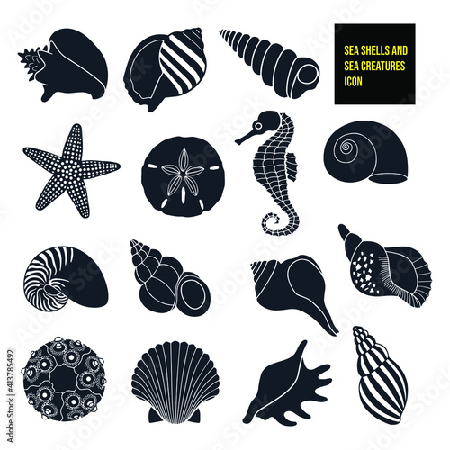 Canvas Print Seashells and sea creatures icon stock illustration
