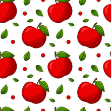Seamless Pattern With Apples And Leaves. Bright, Red, Juicy, Summery, Fruity Pattern. Colored Elements With A Stroke, In A Linear Style Are Isolated. For Clothing Design And Food Packaging