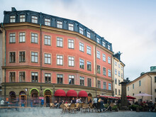 Square With Cafes At The Historic Old City Gamla Stan Of Stockholm