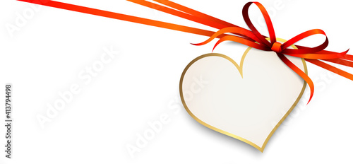 Fototapeta red ribbon bow with heart hang tag obraz