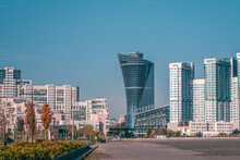 Original Modern Multi-storey Building In The North Of Moscow. Modern Residential High-rise Architecture