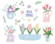 Colorful Spring Set With Flowers And Bouquets In Pastel Colors. Vector