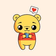 Cute Vector Illustration Winnie The Pooh For Children.