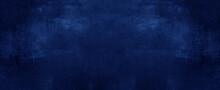 Dark Abstract Blue Stone Concrete Paper Texture Background Panorama Banner Long, With Space For Text
