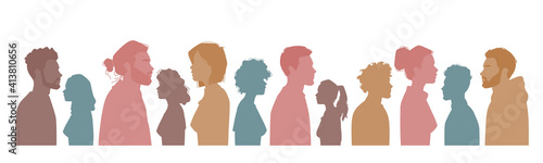 Fotografiet Diverse people silhouettes, multiracial, multicultural crowd of men and women, side view portraits
