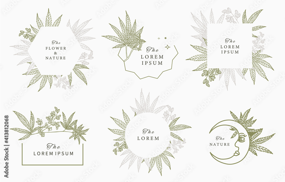 Fototapeta cannabis frame collection.vector illustration for banner and product
