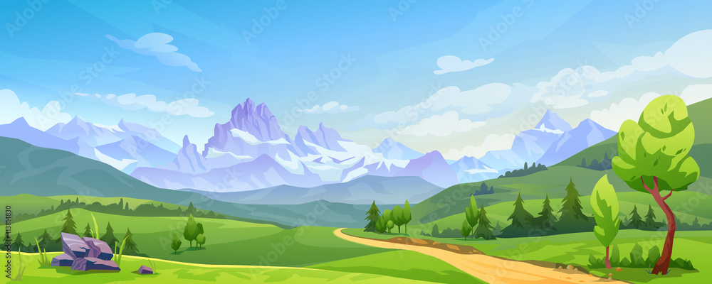 Fototapeta Mountain landscape with green hills, sandy road and natural valley. Vector picturesque place background, green fir trees and rocks. Snowy mounts, scenic hills, spring or summer nature, blue sky