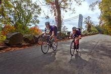 Cyclists Racing On Bicycle By George Washington Bridge
