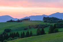 Rural Landscape Of Turiec Region At The Foothills Of Velka Fatra.