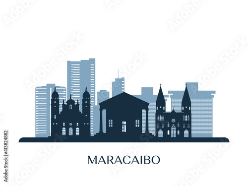 Maracaibo skyline, monochrome silhouette. Vector illustration.