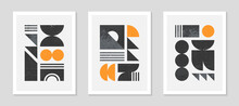 Set Of Abstract Bauhaus Geometric Pattern Backgrounds.Trendy Minimalist Geometric Design With Simple Shapes And Elements.Mid Century Modern Artistic Vector Illustration.Futuristic Wall Art Decor.