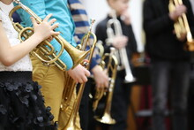 A Group Of Children Students Of Young Musicians Boys And Girls With Musical Instruments Trumpet And Saxophone At A Music Lesson In The Classroom.Blurred Background With Focus In The Foreground