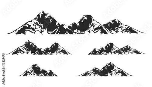 Fotografija Alpine Mountain vector illustration, nature icon for logo elements