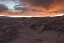 San Pedro De Atacama Y Valle De Luna Desert At Sunset