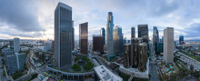 Aerial Over Downtown Los Angeles At Dawn