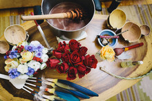 Table Filled With An Assortment Of Tools For Cacao Ceremony
