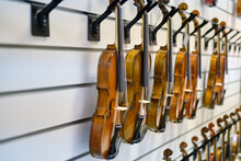 Sale Of Violins In A Musical Instrument Store. Rows Of Violins Close-up