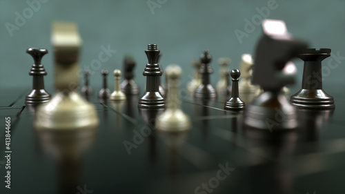 Cuadros en Lienzo 3d render. Chess board and pieces