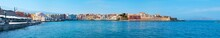 Panorama Of Chania Harbor With Kucuk Hasan Pasha Mosque And Firkas Fortress, Crete, Greece