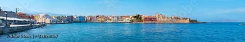 Fotografie, Tablou Panorama of Chania harbor with Kucuk Hasan Pasha mosque and Firkas Fortress, Cre