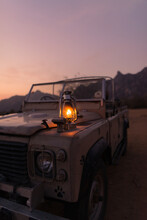 Gas Lamp On Vintage Land Rover