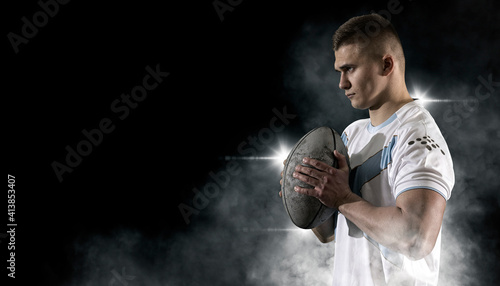 Stampa su Tela Man rugby player. Sports banner