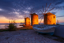 Blue Hour Image Of The Iconic Windmills In Chios Town.
