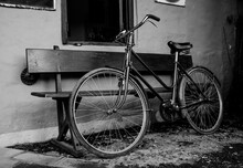 Retro Style English Bicycle In Black And White