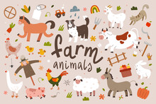 Cute Farm Animals Collection, Flat Animal Illustration, Cow, Sheep And Rooster With Face Expressions, Cartoon Characters For Kids Isolated, Flat Vector Cliparts.