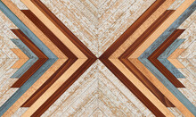 Wooden Planks Texture. Colorful Rustic Wooden Panel With Chevron Pattern For Wall Decor.  Shabby Hardwood Parquet Floor.