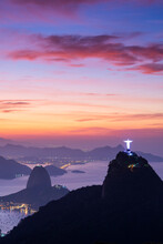Beautiful Landscape Of Christ Redeemer Statue And Sugar Loaf Mountain