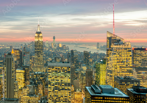 Canvas Print View of New York Manhattan during sunset hours