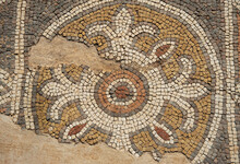 Detail Of Antique Mosaic In Shoham Forest Park. Israel.
