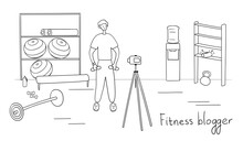 Man Blogger Is Recording Content For His Video Blog. Young Male Vlogger Doing Exercises. Sportsman Streaming For His Followers With Camera On Tripod. Fitness And Healthy Lifestyle Concept. Vector