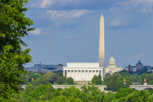 City Monuments Including Lincoln Memorial And Washington Monument And Capitol Building I Cloudy Day - Washington D.C. United States Of America