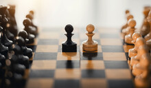 Two Pawns - Black And White. Wooden Chess Pieces On The Chessboard.