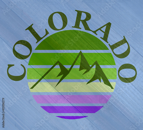 Grunge Colorado mountains sign on wood grain texture #413896279