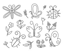 Vector Black And White Insect And First Flower Icons Pack. Funny Spring Garden Outline Collection. Cute Ladybug, Butterfly, Beetle, Dandelion Illustration For Kids. Bugs And Plants Coloring Page.