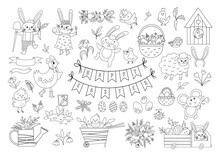 Big Black And White Collection Of Design Elements For Easter. Vector Outline Set With Cute Bunny, Eggs, Bird, Chicks, Baskets. Spring Funny Illustration Or Coloring Page. Adorable Holiday Icons.