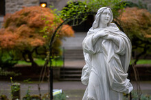 Religious Christian Marble Statue In Garden