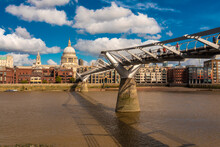 Cityscape Of The City Of London With The Millenium Bridge And St Paul