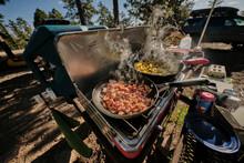 Bacon And Eggs In The Morning, Mogollon Rim Camp Breakfast In Arizona.