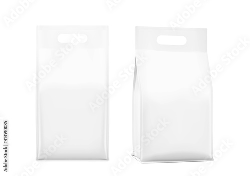 Realistic bags with handle isolated on white background. Front, isometric view. Vector illustration. Can be use for template your design, presentation, promo, ad. EPS 10.
